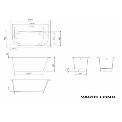 Akmens masės vonia PAA VARIO LONG 170x75 3