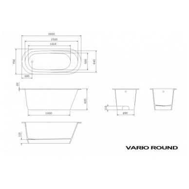Akmens masės vonia PAA VARIO ROUND 166x75 2