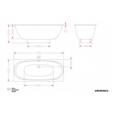Akmens masės vonia PAA VERSO 170X75 su paneliu 2