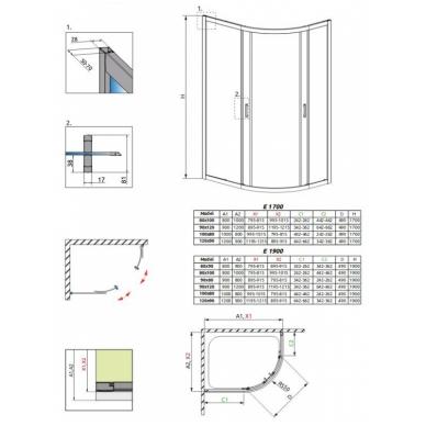 Asimetrinė dušo kabina Radaway Premium Plus E 1700 3