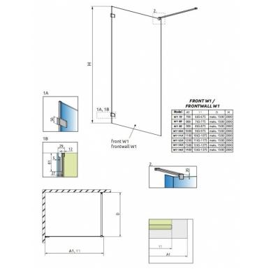 Atvira dušo kabina Radaway Euphoria Walk-in V (8mm stiklas) 5