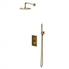 Dušo komplektas CONTOUR, termostatinis, šlifuotas (matinis) aukso, Omnires