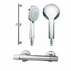 Dušo komplektas: stovas su dušo galva Bossini Mixa 3 ir M&Z termostatinis maišytuvas Taghino