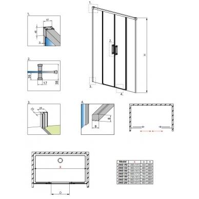 Dušo durys į nišą Radaway Idea DWD 8