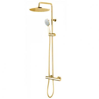 Dušo komplektas COSMO 280 su termostatiniu maišytuvu, aukso spalvos, Bossini