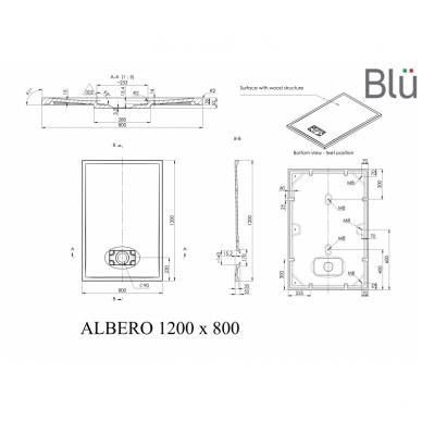 Dušo padėklas Blu ALBERO Rect, akmens masės 2