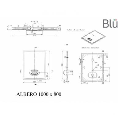 Dušo padėklas Blu ALBERO Rect, akmens masės 3