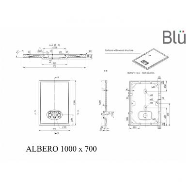 Dušo padėklas Blu ALBERO Rect, akmens masės 4