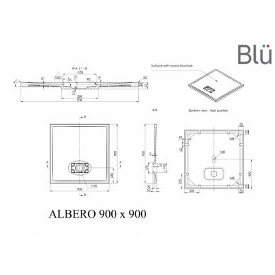 Dušo padėklas Blu ALBERO Square, akmens masės 2