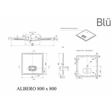 Dušo padėklas Blu ALBERO Square, akmens masės 3