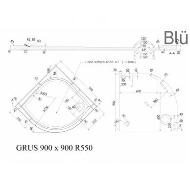 Dušo padėklas Blu GRUS Round, akmens masės 4
