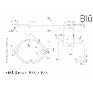 Dušo padėklas Blu GRUS Round, akmens masės 5