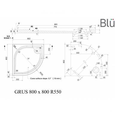 Dušo padėklas Blu GRUS Round, akmens masės 6