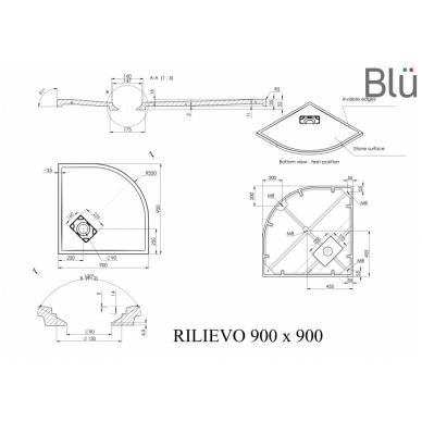 Dušo padėklas Blu RILIEVO Round, akmens masės 90x90 2