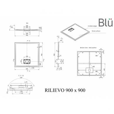 Dušo padėklas Blu RILIEVO Square, akmens masės 2