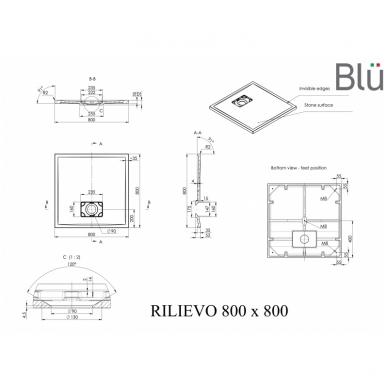 Dušo padėklas Blu RILIEVO Square, akmens masės 3