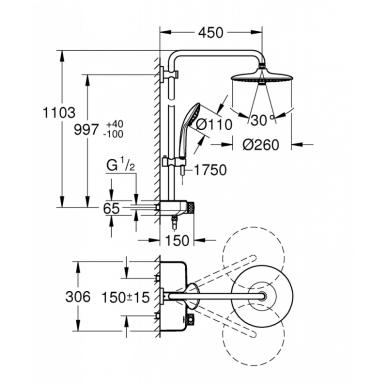 Dušo sistema su termostatu Grohe Euphoria SmartControl System 260 Mono 2