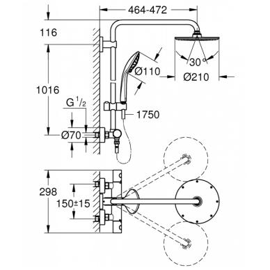 Dušo sistema su termostatu Grohe Euphoria System 210 2