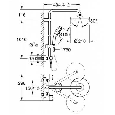 Dušo sistema su termostatu Grohe Tempesta Cosmopolitan System 210 2