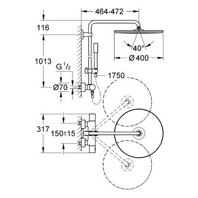 Dušo sistema su termostatu Rainshower Jumbo 400mm su Sena rankiniu dušeliu, chromas 3