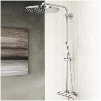 Dušo sistema su termostatu Rainshower Jumbo 400mm su Sena rankiniu dušeliu, chromas