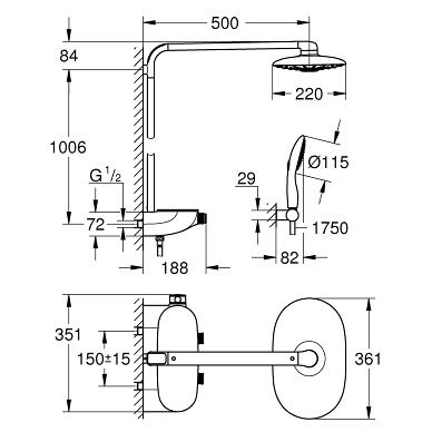 Dušo sistema su termostatu Rainshower SmartControl 360 Duo Grohe, su Power&Soul 115 dušiuku, chromas 4