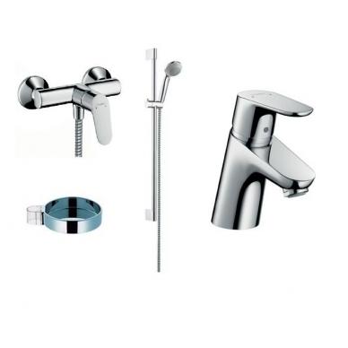 Focus E2 dušo komplektas (dušo maišytuvas, praustuvo maišytuvas, dušo stovas) Hansgrohe