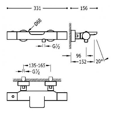 Juodas termostatinis maišytuvas voniai Study Exclusive su dušiuku 2