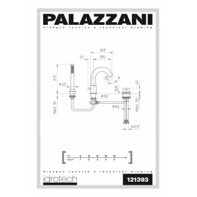 Maišytuvas montuojamas į vonios kraštą Palazzani Idrotech II 2