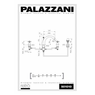 Maišytuvas montuojamas į vonios kraštą Palazzani Retro 2