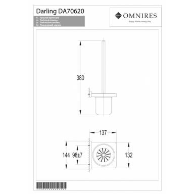 Nikelio spalvos WC šepetys OMNIRES DARLING 2