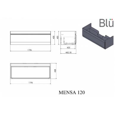 Pakabinamas vonios spintelė su praustuvu Blu MENSA 8