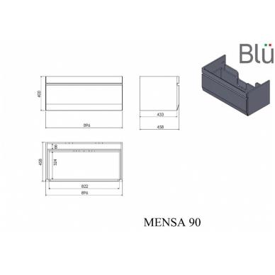 Pakabinamas vonios spintelė su praustuvu Blu MENSA 9