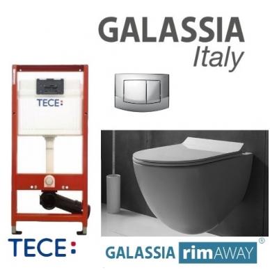 Pakabinamo WC Dream No Rim Galassia ir rėmo Tece Ambia komplektas (chromas)