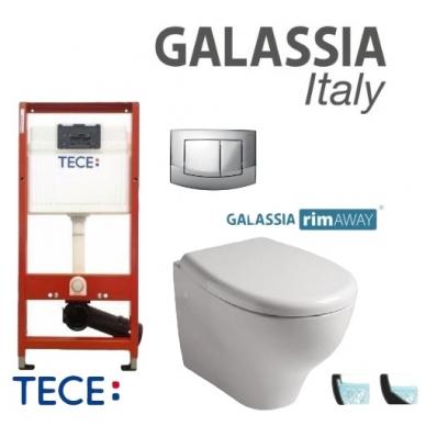 Pakabinamo WC Eden No Rim Galassia ir rėmo Tece 4in1 Ambia komplektas