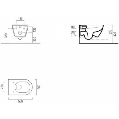 Komplektas unitazo PURA Rimless, pakabinamas, GSI ir rėmo Grohe 5in1 Skate Cosmopolitan 8