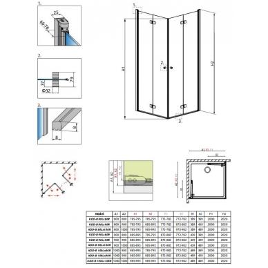Pilnai susiverianti stačiakampė dušo kabina Radaway Fuenta NEW KDD-B 3