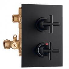 Potinkinis 2-jų eigų termostatinis maišytuvas dušui FORMULA MULTI, juodas matinis, Palazzani