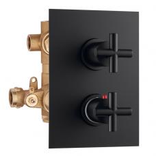 Potinkinis 3-jų eigų termostatinis maišytuvas dušui FORMULA MULTI, juodas matinis, Palazzani