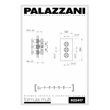 Potinkinis 2-jų eigų termostatinis maišytuvas dušui Palazzani Formula Multi 2