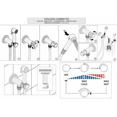 Progresyvinis bide maišytuvas su dušeliu Bossini E37 - PALOMA-FLAT (plastikinė galvutė) 6