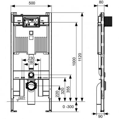 Siauras potinkinis rėmas Teceprofil WC, 8cm + redukcija