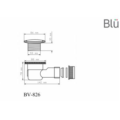 Sifonas Blu dušo padėklui 60 mm Ø, chromas 2