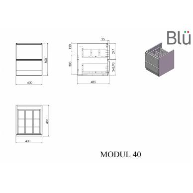 Spintelė su praustuvu Blu MODUL 9