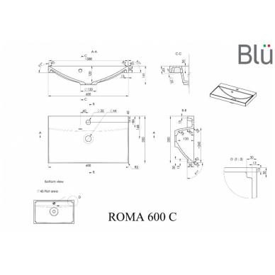 Spintelė su praustuvu Blu ROMA 3