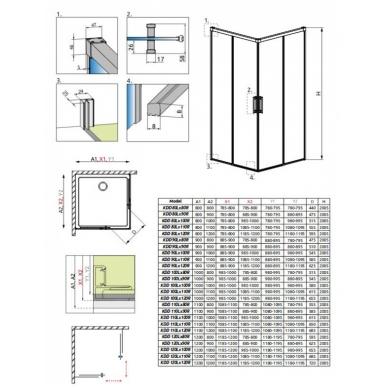 Stačiakampė dušo kabina Radaway Idea KDD 8