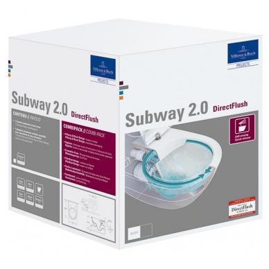 Subway 2.0 WC pakabinamas Direct Flush su sėdyne SlimSeat White Alpin, Villeroy & Boch 2