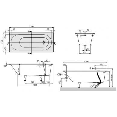 Vonia iš Quaryl medžiagos Oberon Villeroy & Boch 170x75 3