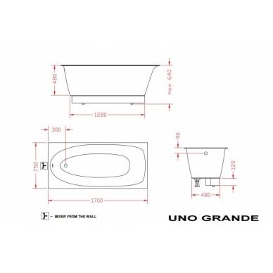Vonia PAA UNO GRANDE 170x75, akmens masės 3